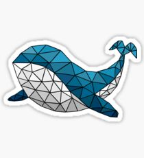 Blue Flying Whale Sticker