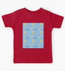 Cute little butterflies, Spring watercolour pattern in purple, yellow, green, pink on a blue background Kids Clothes