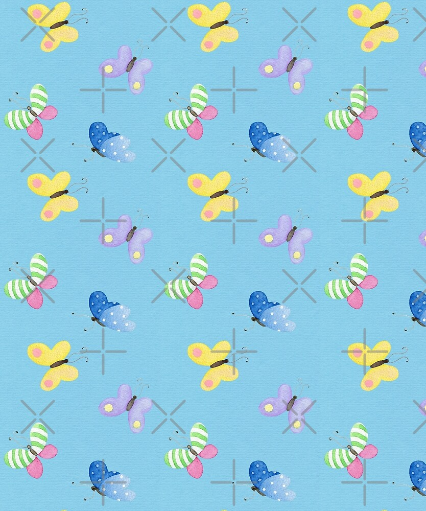 Cute little butterflies, Spring watercolour pattern in purple, yellow, green, pink on a blue background by Sandra O'Connor