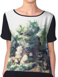 Fairy Island - Watercolor Landscape Chiffon Top