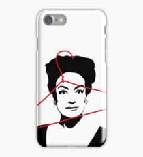 Joan Crawford portrait, black with red wire hanger iPhone Case/Skin