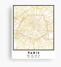 PARIS FRANCE CITY STREET MAP ART Canvas Print