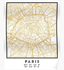 PARIS FRANCE CITY STREET MAP ART Poster