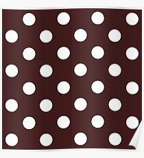 White polka dots in brown background Poster