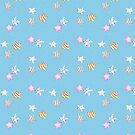 Star watercolour patten with cute stripy and spotty stars in red, yellow, green, pink with a blue background by Sandra O'Connor