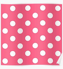 White polka dots in pink background Poster