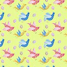 Fun Easter bird and eggs pattern in blue, pink and yellow with a yellow background, watercolour by Sandra O'Connor