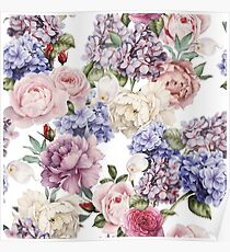 Peonies and Hydrangeas Poster