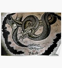 Japanese Dragon Grasping Pearl Of Wisdom Poster