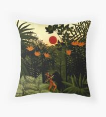 "Henri Rousseau's Exotic Painting ""Jungle Fight"" Throw Pillow"