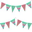 Party bunting flags, watercolour fun design in red, pink and green. by Sandra O'Connor