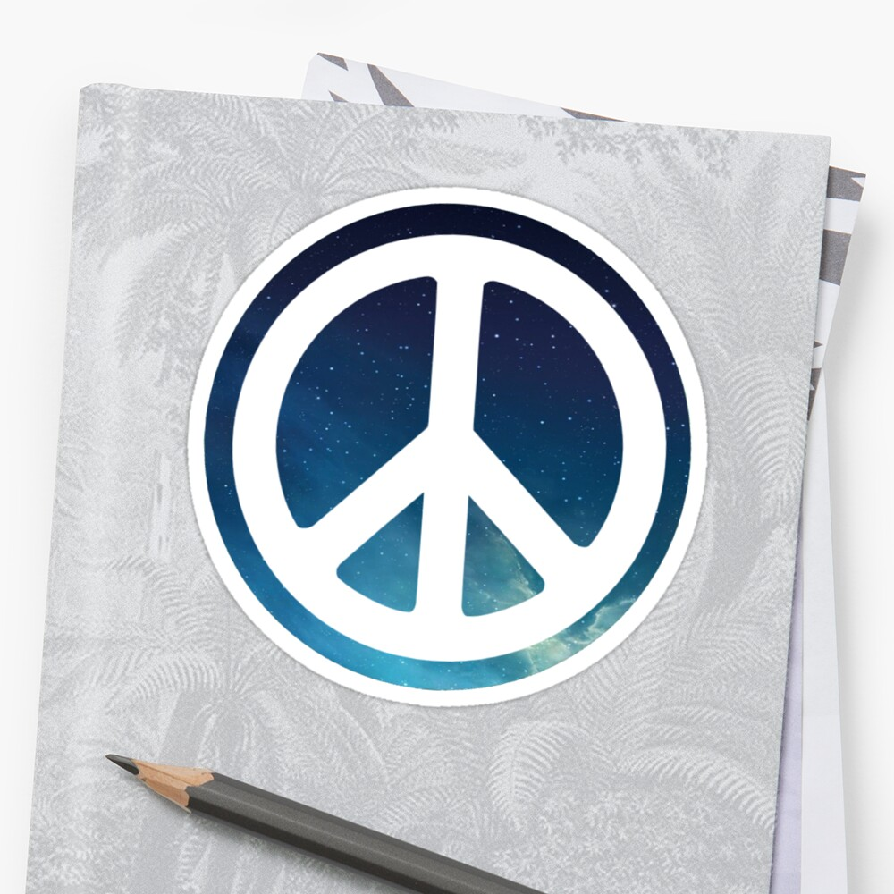 peace sign starry night sky Sticker Front