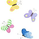 Cute little butterflies, Spring watercolour pattern in purple, yellow, green, pink and blue  by Sandra O'Connor