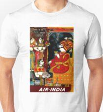 AIR INDIA: Vintage Air Travel Advertising Print T-Shirt