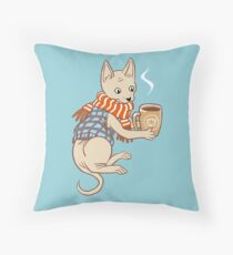 Sphynx cat with a cup of tea Throw Pillow