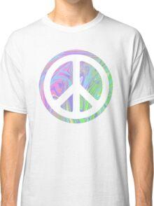 PEACE SIGN SWIRLY TRIPPY RAINBOW Classic T-Shirt