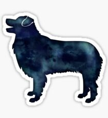 Australian Shepherd Dog Breed Black Watercolor Silhouette Sticker