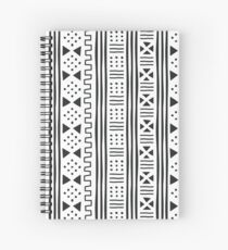 Black and White African Mudprint Inspired Spiral Notebook