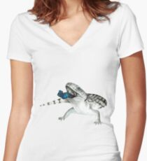 Cosmic Blue Tongued Lizard Women's Fitted V-Neck T-Shirt