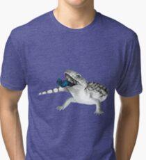 Cosmic Blue Tongued Lizard Tri-blend T-Shirt