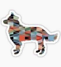 Border Collie Dog Breed Geometric Pattern Silhouette Plaid Sticker