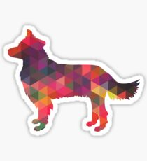 Border Collie Dog Breed Geometric Pattern Silhouette Multi Sticker