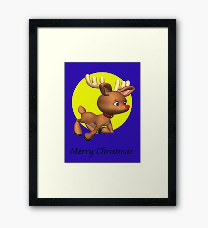 Rudolph wishes you a.... Framed Print