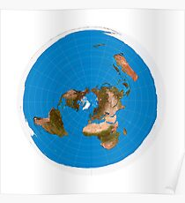 Flat Earth Map - #1 Azimuthal Equidistant Projection Poster