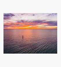 Stand Up Paddle-boarding under Seacliff Sunsets - South Australia Photographic Print