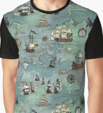 Pirate Map Nautical Sea Print Graphic T-Shirt
