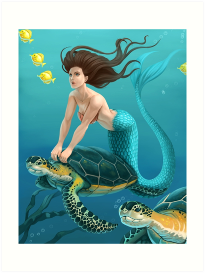 Mermaid and Sea Turtles  by dreampigment