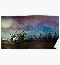 Starry Country Night Sky in Ink Poster
