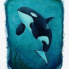 """""""The Matriarch"""" by Amber Marine ~ killer whale / orca watercolor painting, (J2 Granny) art © 2016 by Amber Marine ~ Wildlife Artist"""