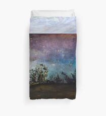Starry Night Sky above country home Duvet Cover