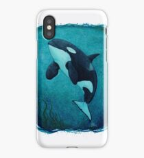 """""""The Matriarch"""" by Amber Marine ~ killer whale / orca watercolor painting, (J2 Granny) art © 2016 iPhone Case/Skin"""