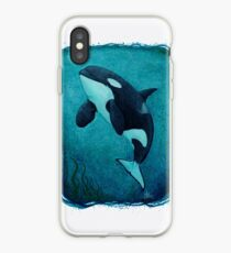 """""""The Matriarch"""" by Amber Marine ~ killer whale / orca watercolor painting, (J2 Granny) art © 2016 iPhone Case"""
