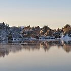 Snowy winterday in the fjords of Norway by Annbjørg  Næss