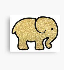 Gold Glitter Elephant Canvas Print