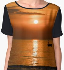 Sunrise Sky With Fishing Boats Women's Chiffon Top