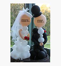 Wedding Humour Balloon Bride and Groom Photographic Print