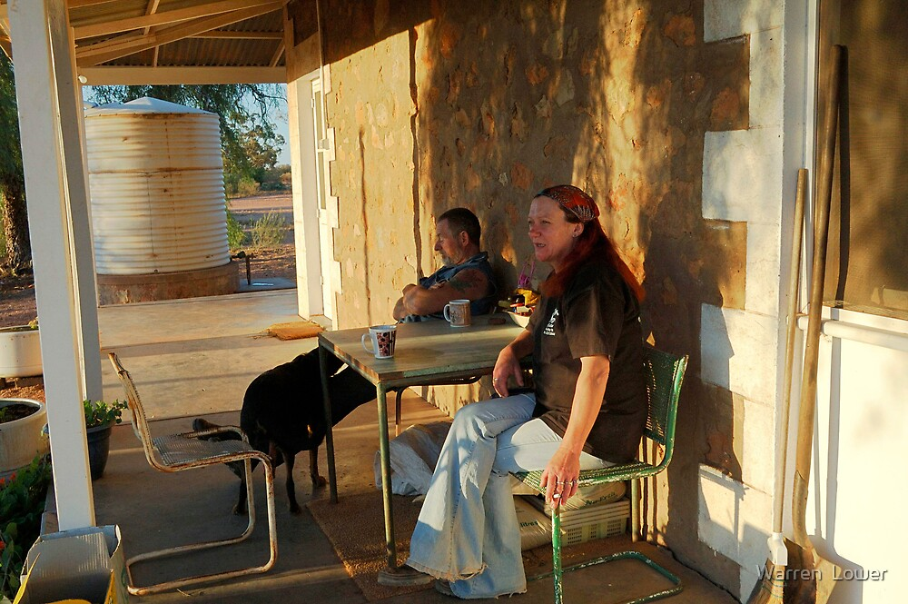 Alan the stockman & Deb the cook outside the sheepstation cookhouse after dinner  by Warren  Lower
