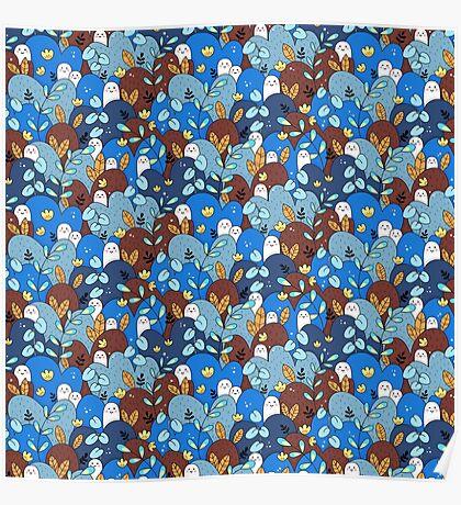 buddy pattern blue + brown Poster