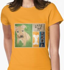 Save Me puppy Womens Fitted T-Shirt
