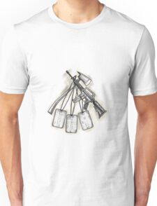 Crossed Fire Ax and M4 Rifle Dog Tags Tattoo Unisex T-Shirt