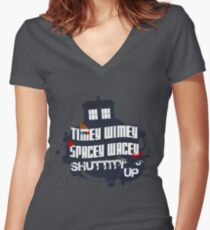 Doctor Who Catchphrases 2 Women's Fitted V-Neck T-Shirt
