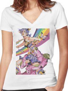 Jolyne kujo jojo's bizarre adventure stone ocean manga Women's Fitted V-Neck T-Shirt