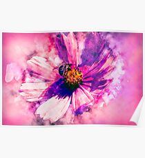 Purple Pink Flower with Bee Poster