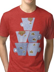 retro cartoon stack of dirty coffee cups Tri-blend T-Shirt
