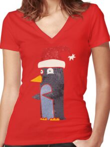 retro cartoon christmas penguin Women's Fitted V-Neck T-Shirt