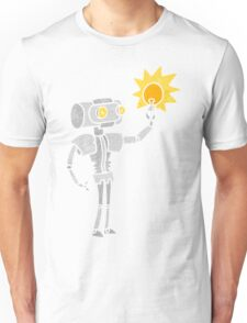 retro cartoon robot with light bulb Unisex T-Shirt